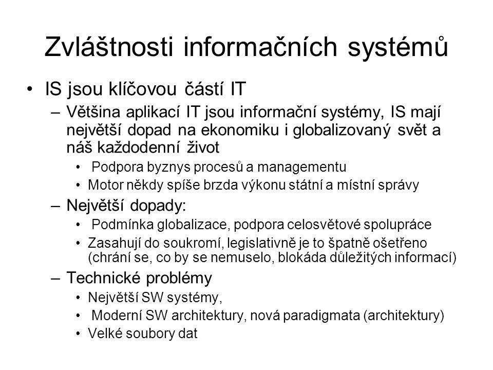Zvláštnosti informačních systémů
