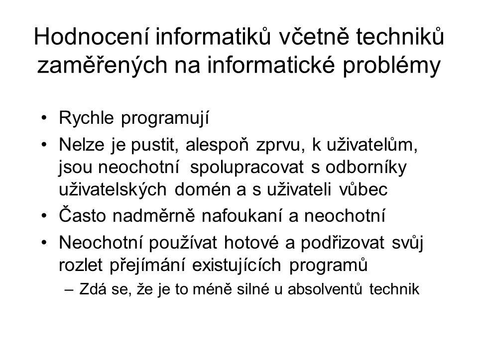 Hodnocení informatiků včetně techniků zaměřených na informatické problémy