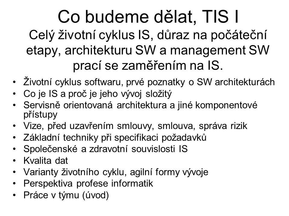 Co budeme dělat, TIS I Celý životní cyklus IS, důraz na počáteční etapy, architekturu SW a management SW prací se zaměřením na IS.