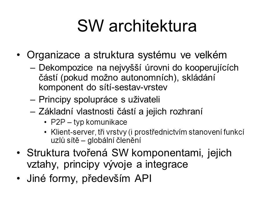 SW architektura Organizace a struktura systému ve velkém
