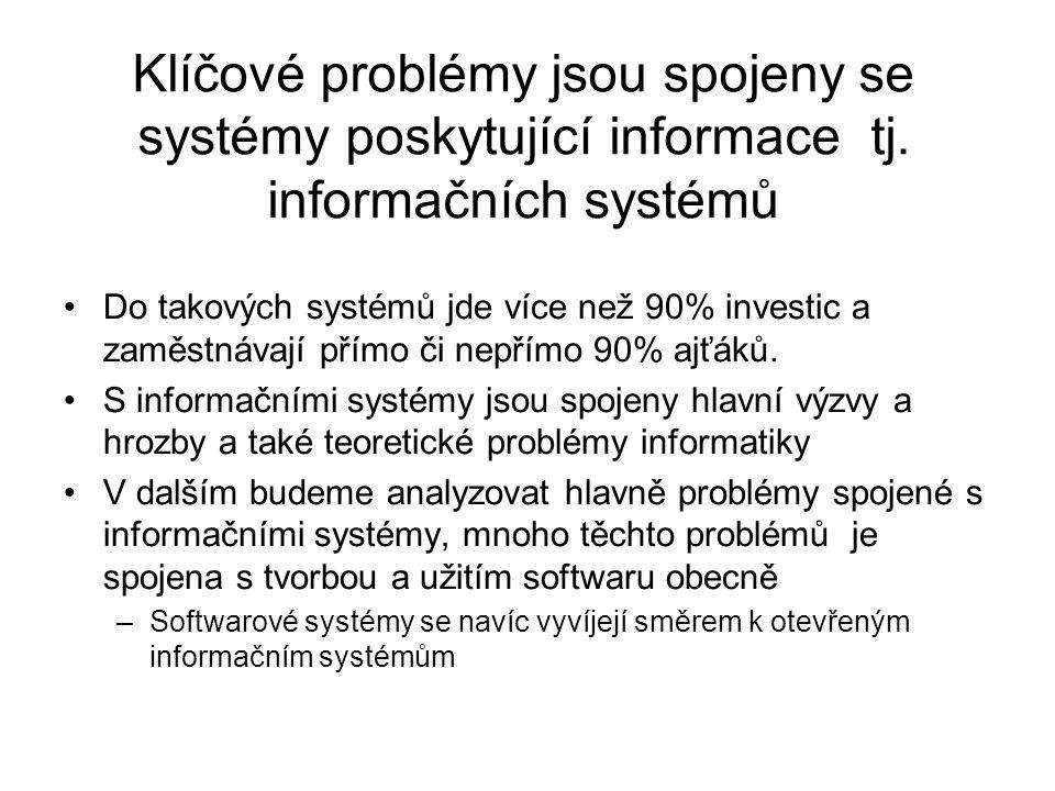 Klíčové problémy jsou spojeny se systémy poskytující informace tj
