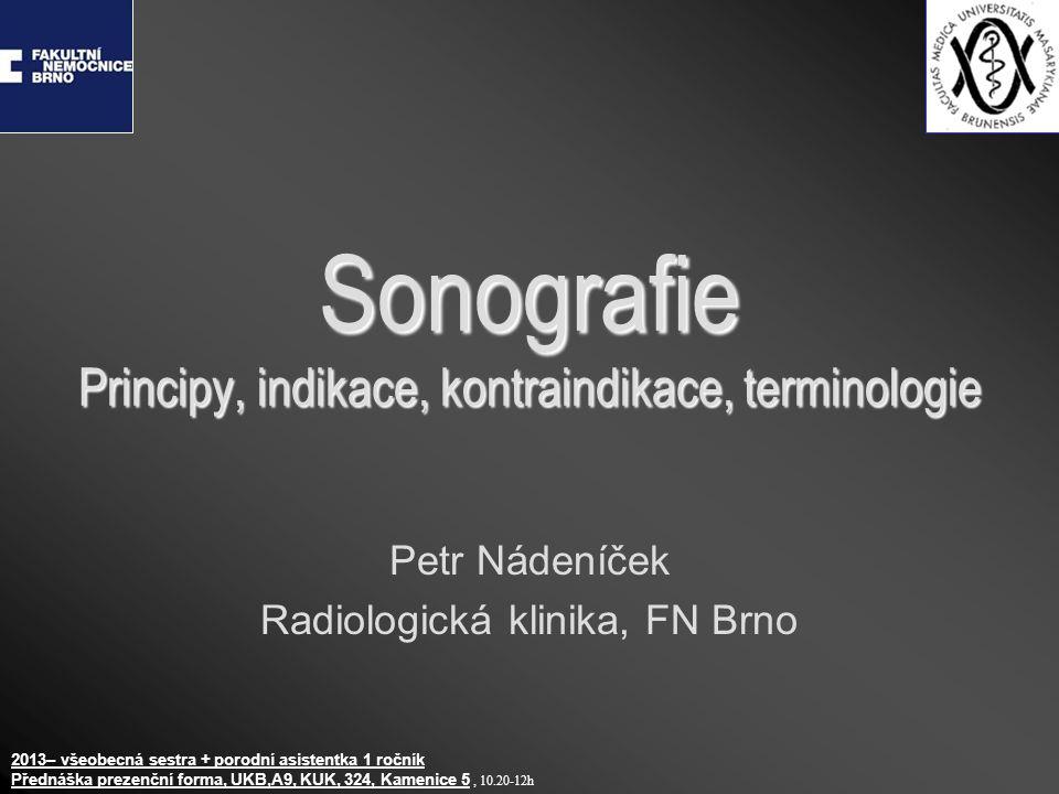 Sonografie Principy, indikace, kontraindikace, terminologie