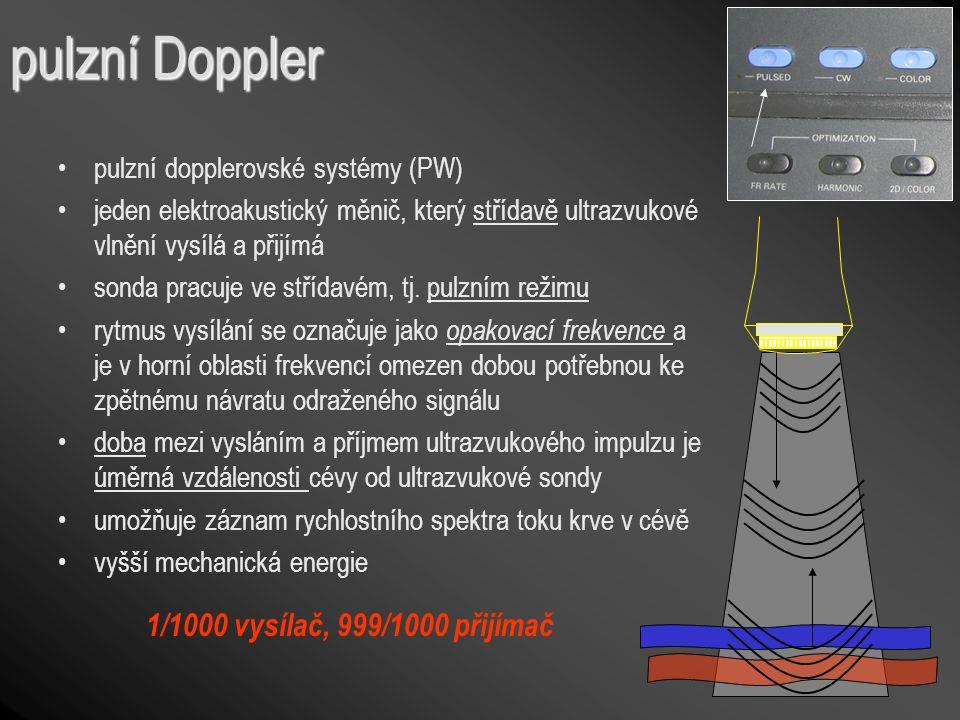 pulzní Doppler 1/1000 vysílač, 999/1000 přijímač