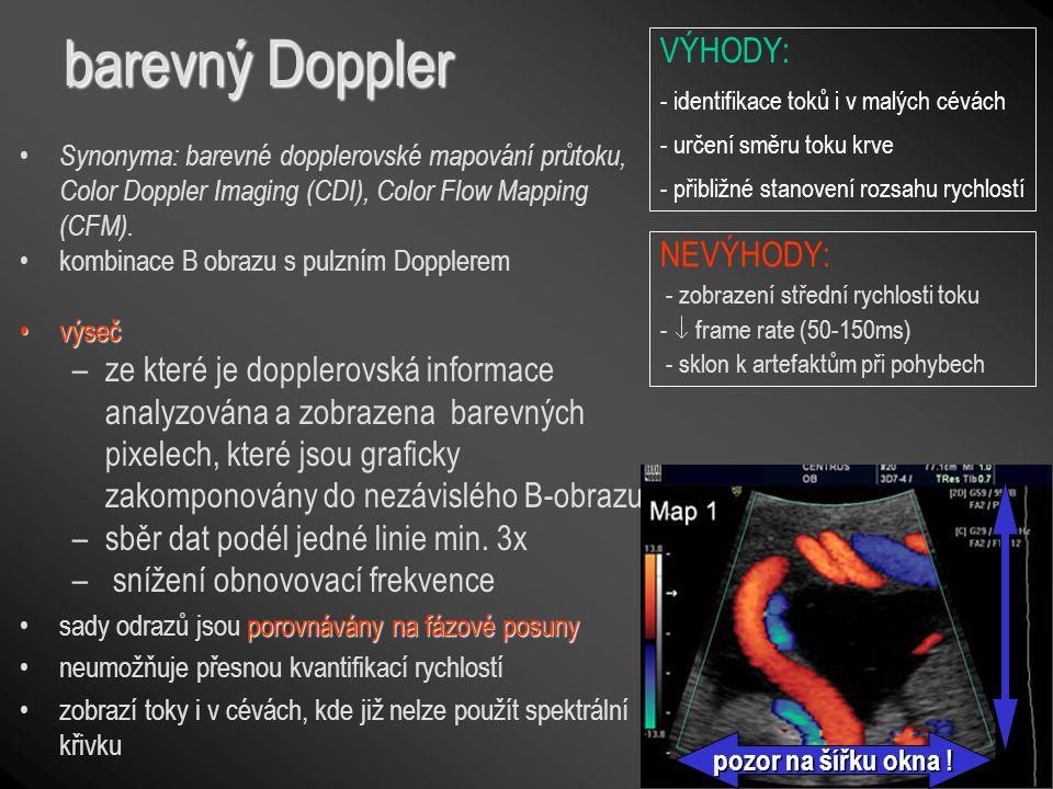 barevný Doppler VÝHODY: NEVÝHODY: