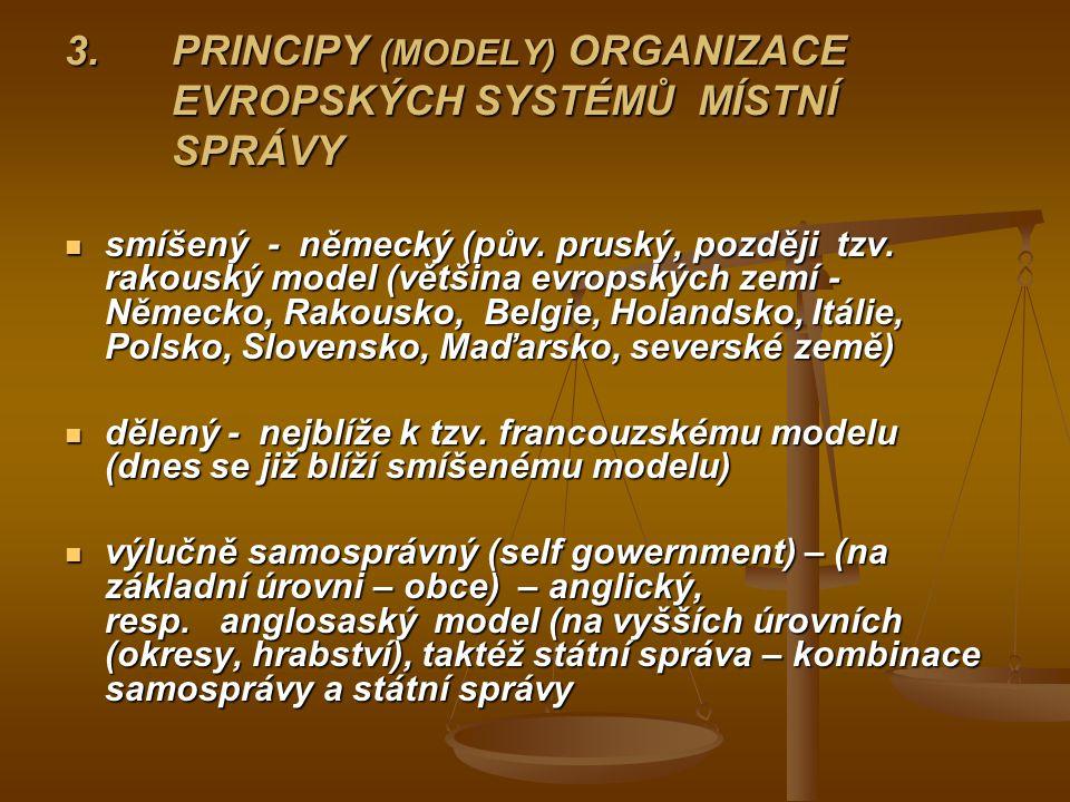 3. PRINCIPY (MODELY) ORGANIZACE EVROPSKÝCH SYSTÉMŮ MÍSTNÍ SPRÁVY