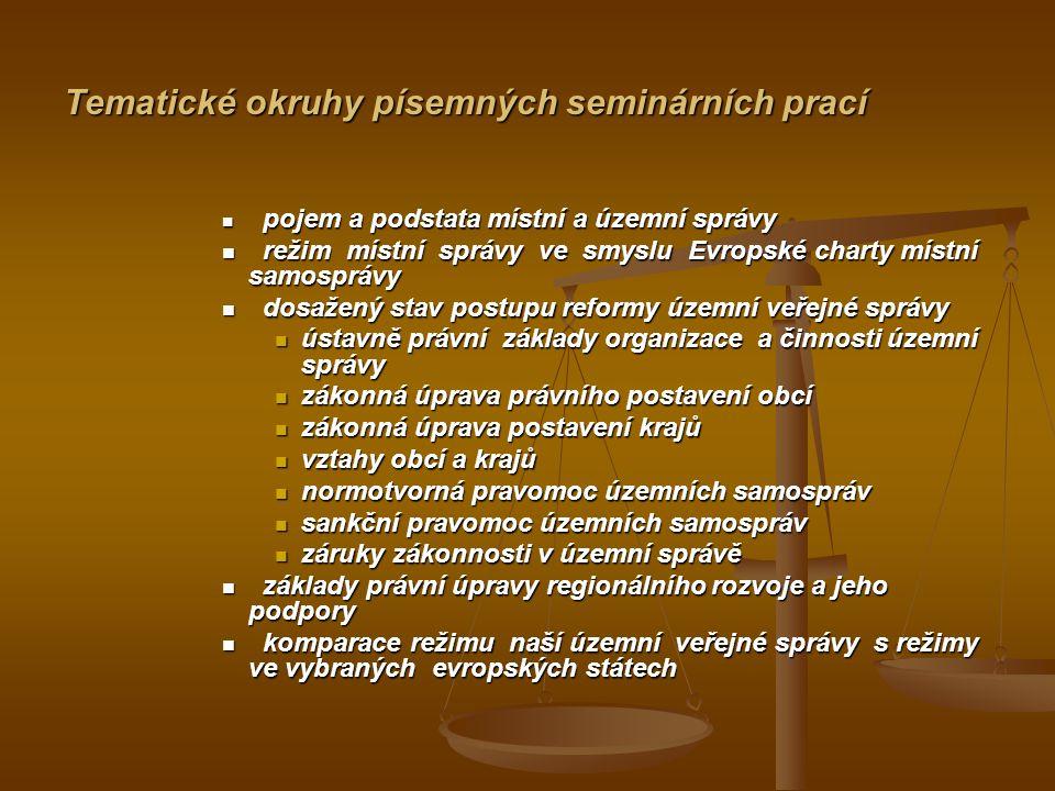 Tematické okruhy písemných seminárních prací