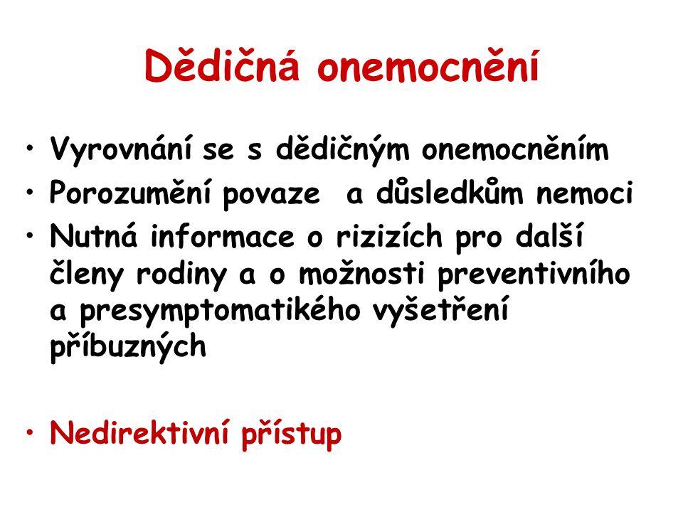 Dědičná onemocnění Vyrovnání se s dědičným onemocněním