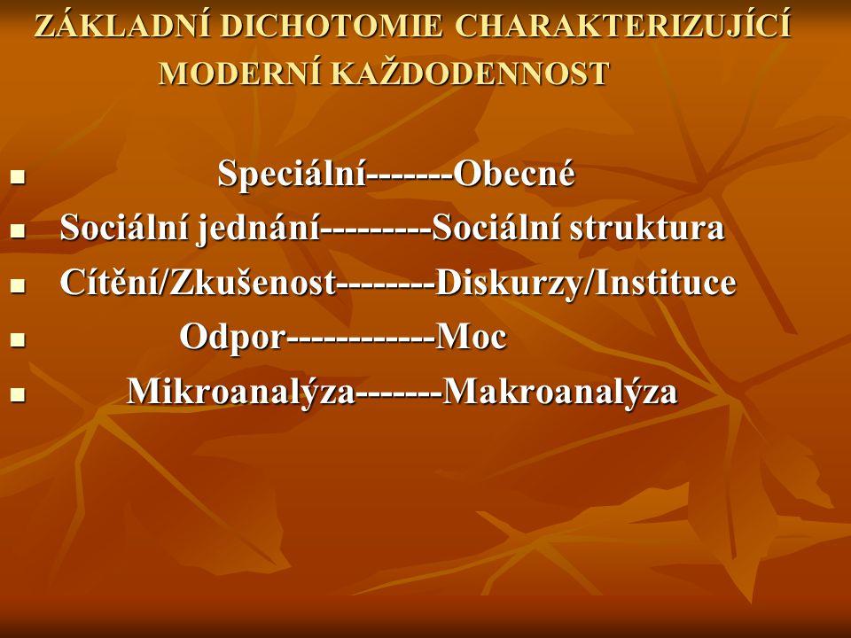 Speciální-------Obecné Sociální jednání---------Sociální struktura