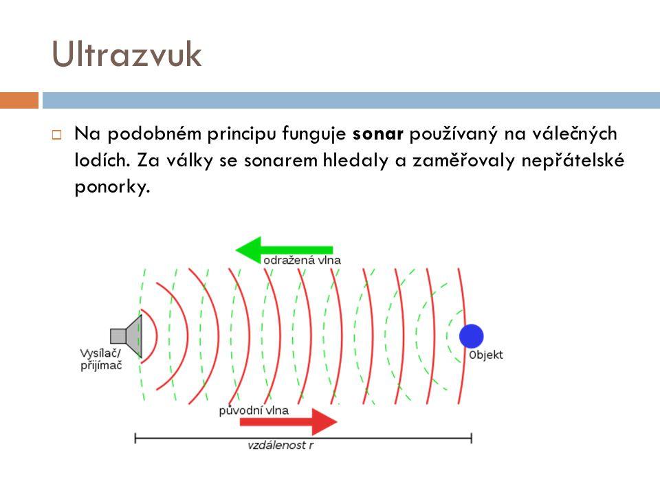 Ultrazvuk Na podobném principu funguje sonar používaný na válečných lodích.