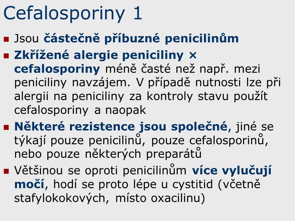 Cefalosporiny 1 Jsou částečně příbuzné penicilinům