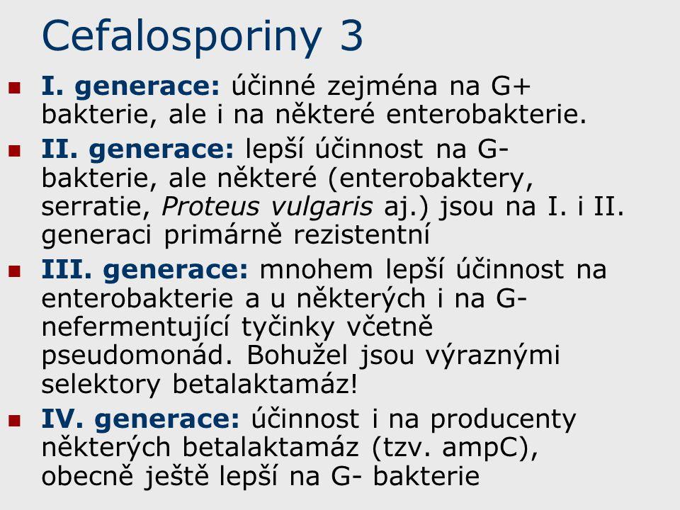 Cefalosporiny 3 I. generace: účinné zejména na G+ bakterie, ale i na některé enterobakterie.