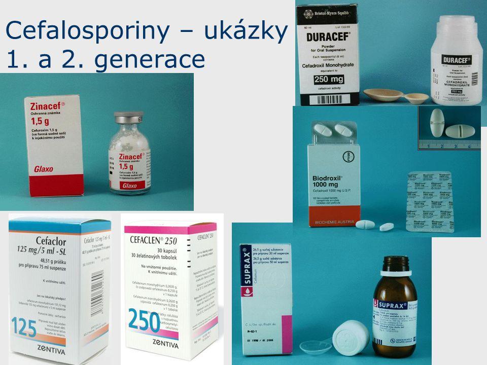 Cefalosporiny – ukázky 1. a 2. generace