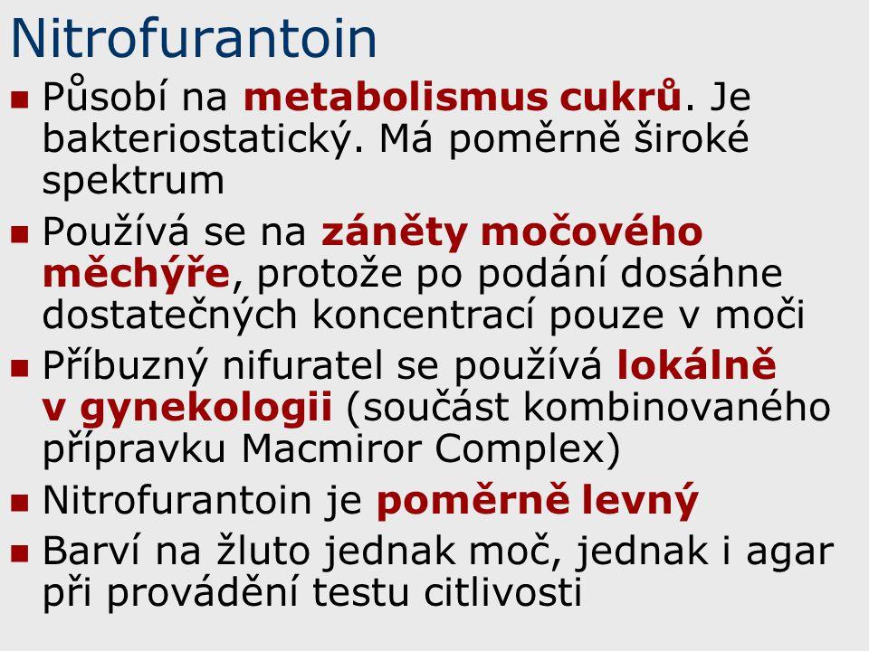 Nitrofurantoin Působí na metabolismus cukrů. Je bakteriostatický. Má poměrně široké spektrum.