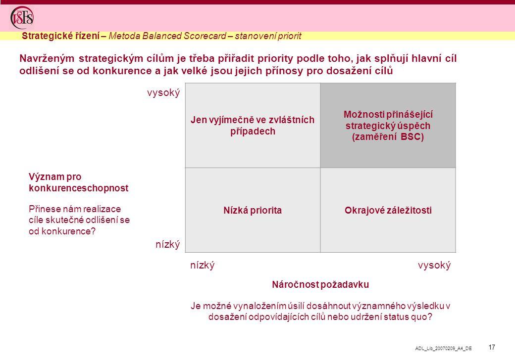 Strategické řízení – Metoda Balanced Scorecard – stanovení priorit