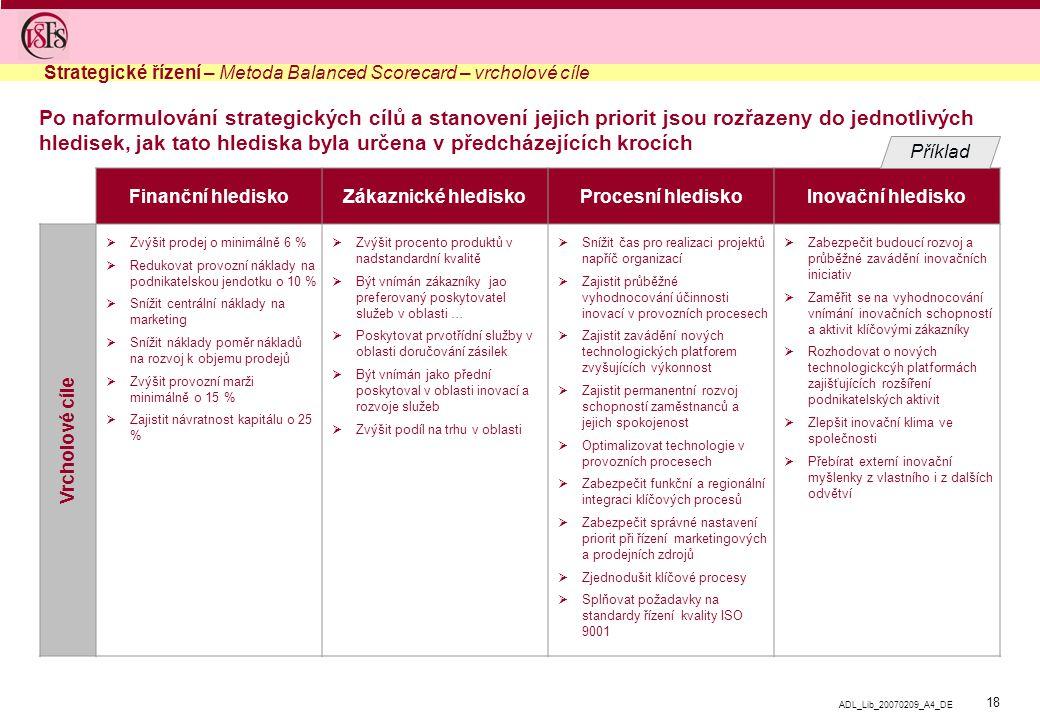 Strategické řízení – Metoda Balanced Scorecard – vrcholové cíle