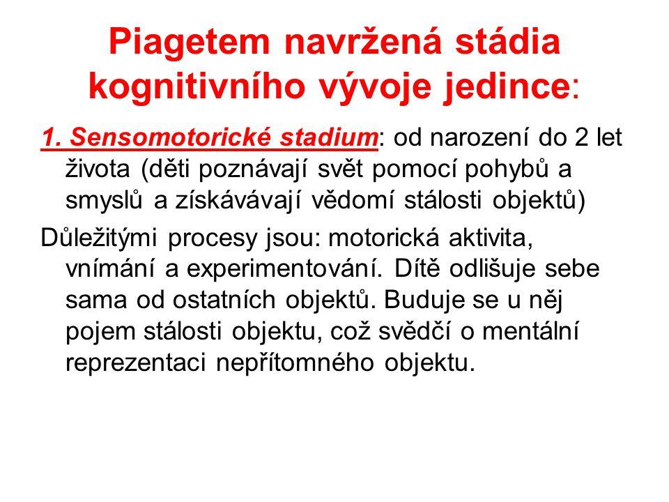 Piagetem navržená stádia kognitivního vývoje jedince: