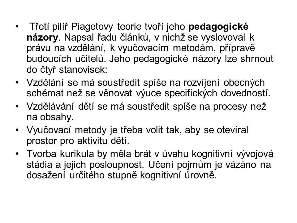 Třetí pilíř Piagetovy teorie tvoří jeho pedagogické názory