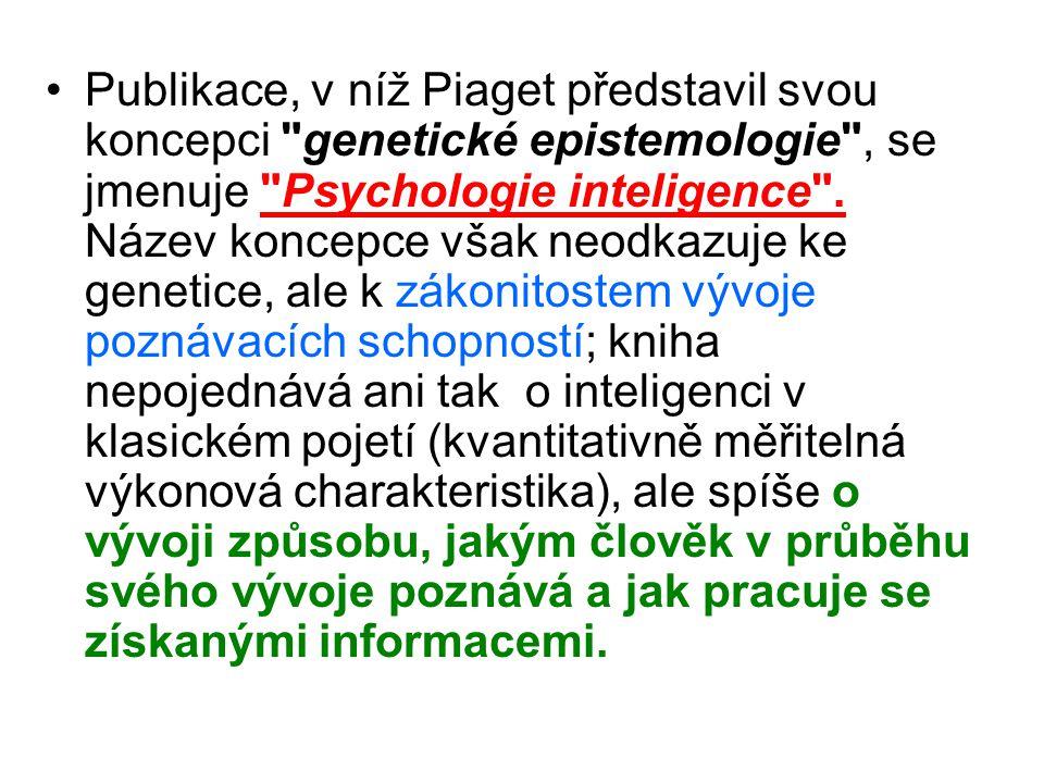 Publikace, v níž Piaget představil svou koncepci genetické epistemologie , se jmenuje Psychologie inteligence .
