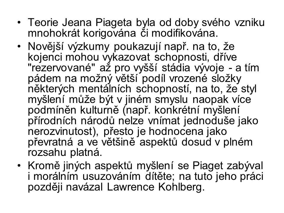 Teorie Jeana Piageta byla od doby svého vzniku mnohokrát korigována či modifikována.