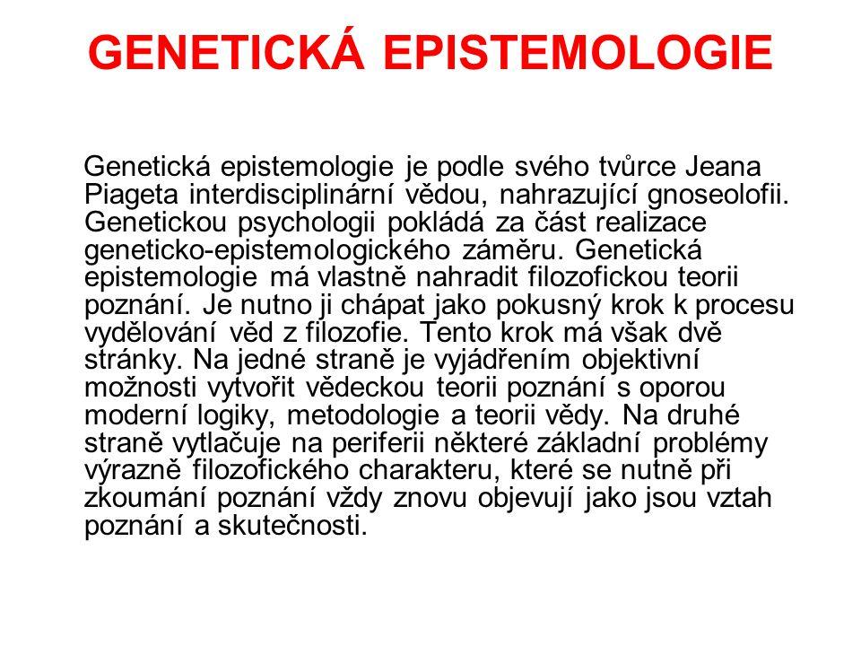 GENETICKÁ EPISTEMOLOGIE