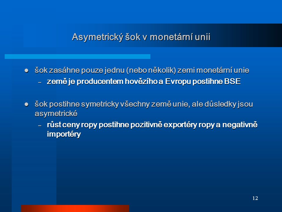 Asymetrický šok v monetární unii