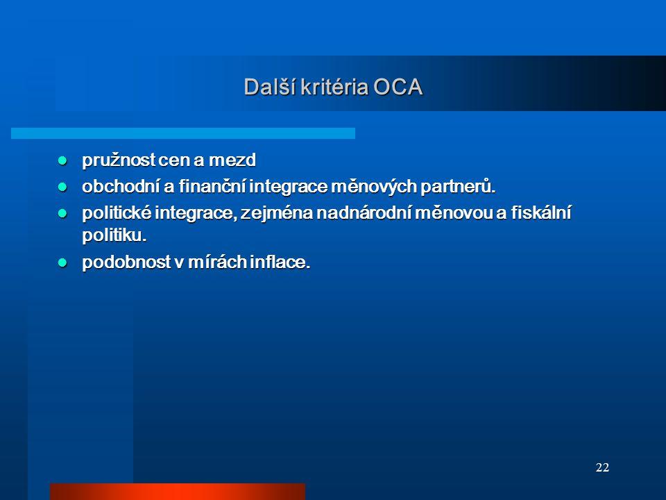 Další kritéria OCA pružnost cen a mezd