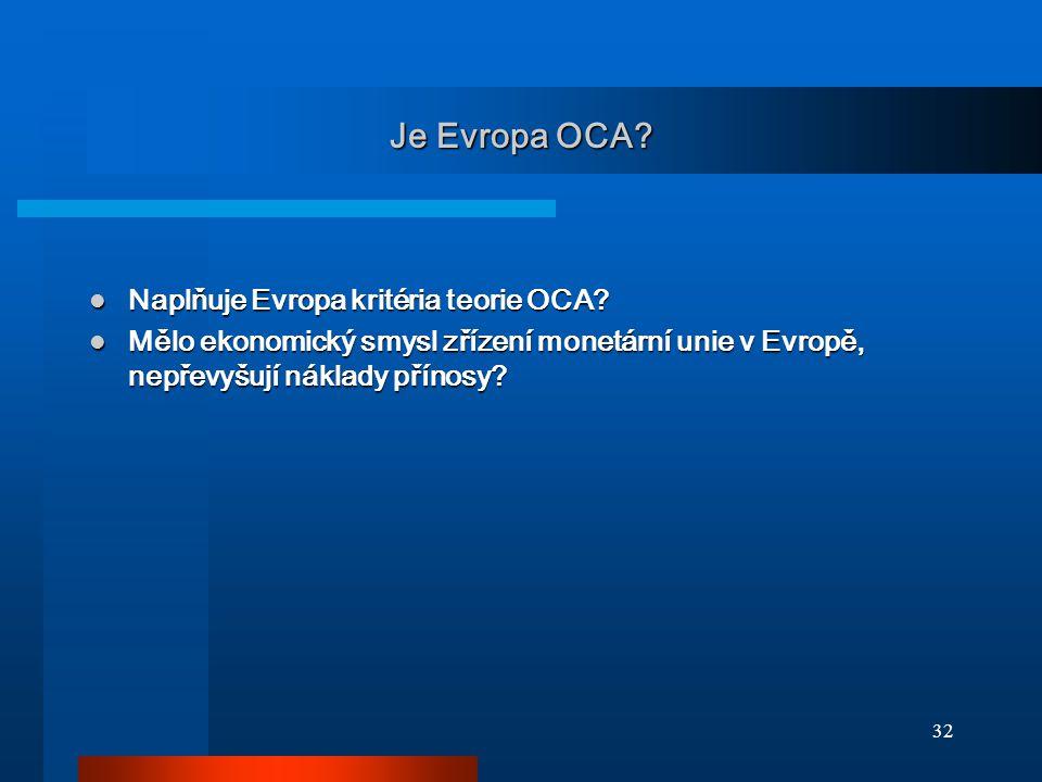 Je Evropa OCA Naplňuje Evropa kritéria teorie OCA