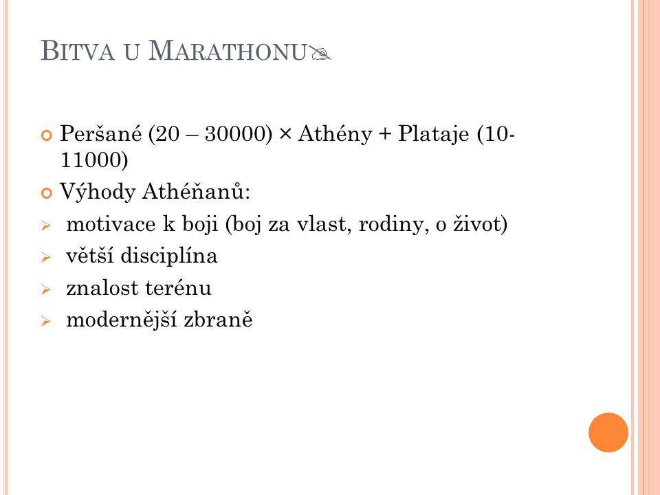 Bitva u Marathonu Peršané (20 – 30000) × Athény + Plataje (10- 11000)