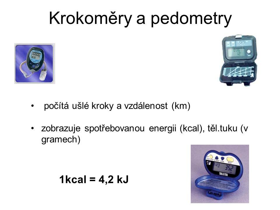 Krokoměry a pedometry 1kcal = 4,2 kJ