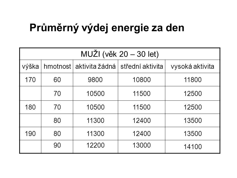 Průměrný výdej energie za den