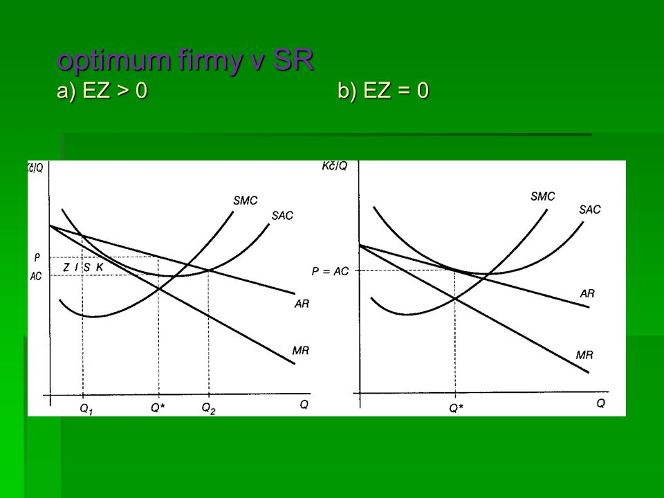 optimum firmy v SR a) EZ > 0 b) EZ = 0