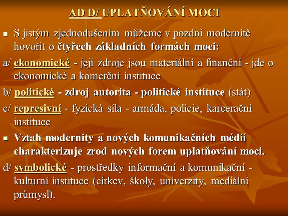 AD D/ UPLATŇOVÁNÍ MOCI S jistým zjednodušením můžeme v pozdní modernitě hovořit o čtyřech základních formách moci: