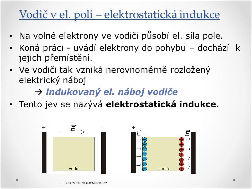 Vodič v el. poli – elektrostatická indukce