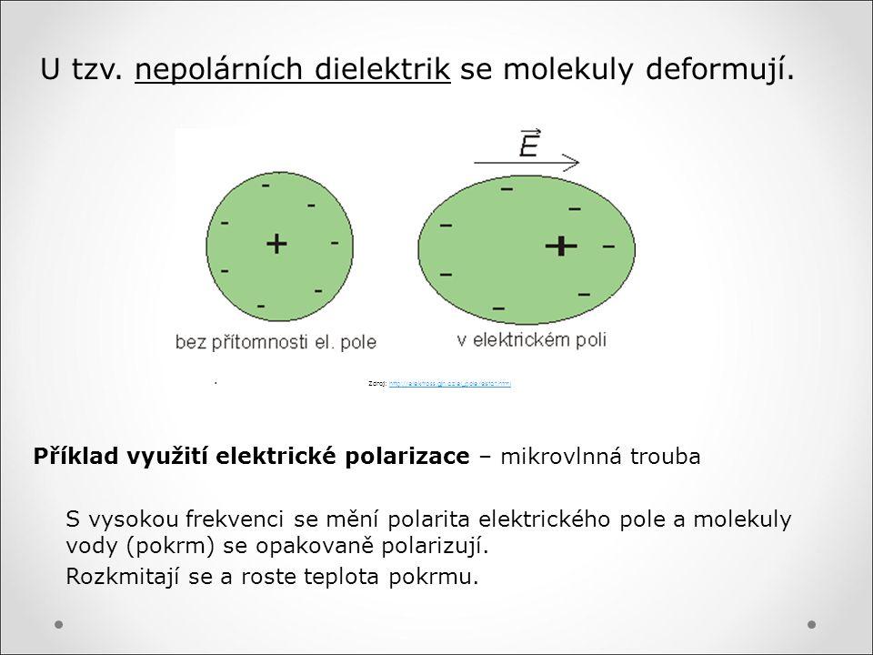 U tzv. nepolárních dielektrik se molekuly deformují.