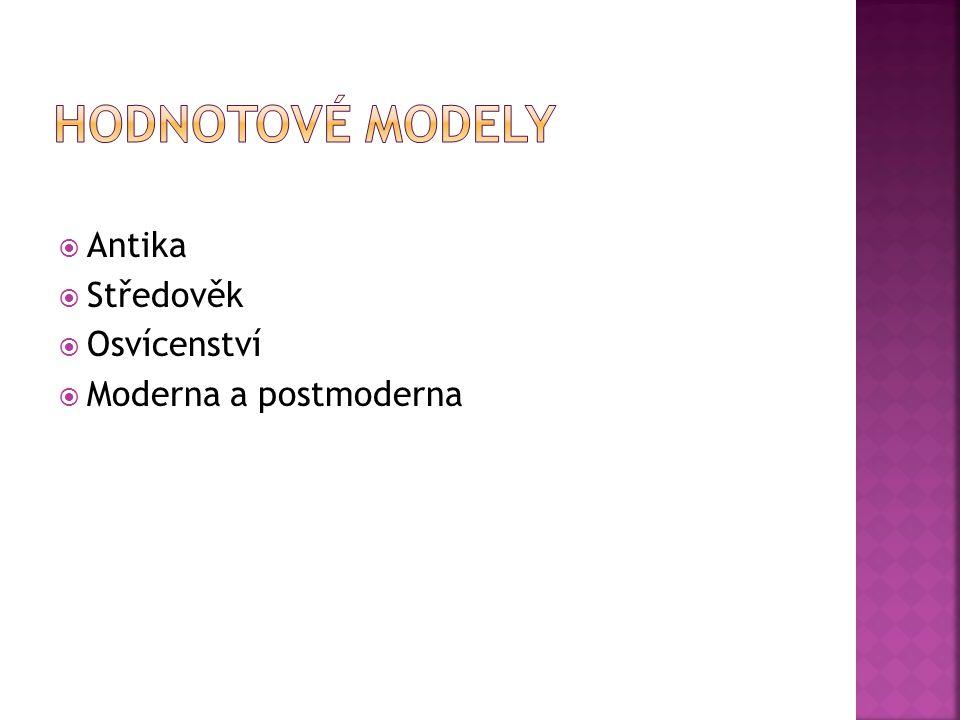 Hodnotové modely Antika Středověk Osvícenství Moderna a postmoderna