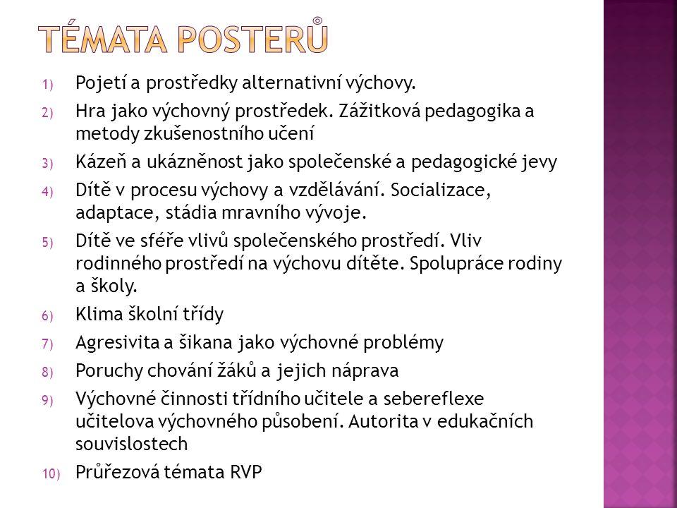 Témata posterů Pojetí a prostředky alternativní výchovy.
