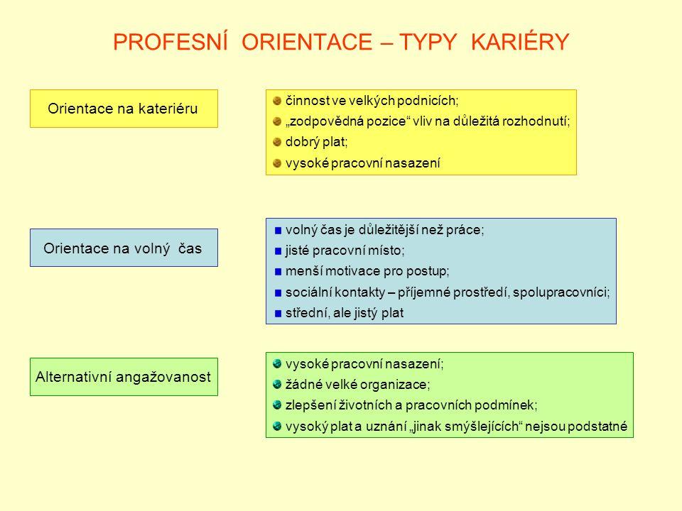 PROFESNÍ ORIENTACE – TYPY KARIÉRY
