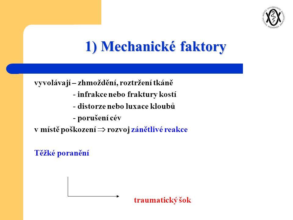 1) Mechanické faktory vyvolávají – zhmoždění, roztržení tkáně