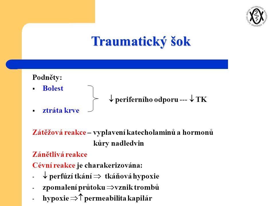 Traumatický šok Podněty: Bolest  periferního odporu ---  TK