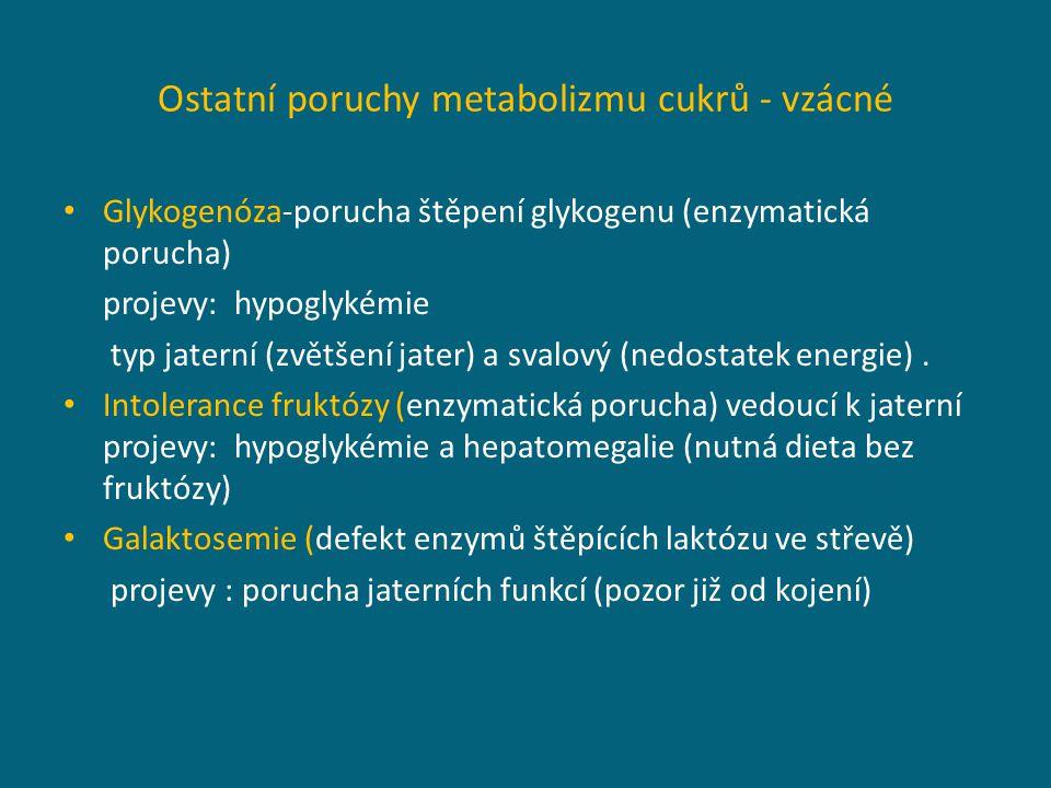 Ostatní poruchy metabolizmu cukrů - vzácné