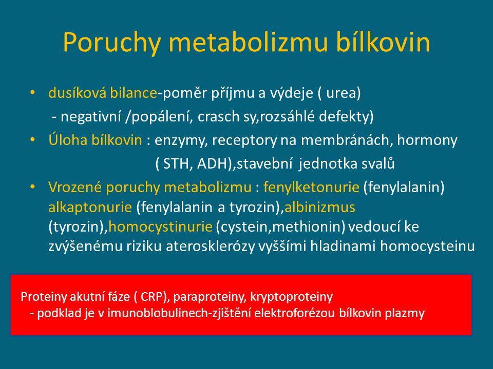 Poruchy metabolizmu bílkovin
