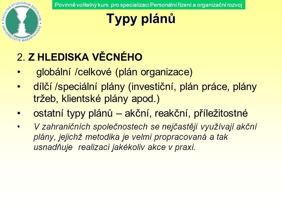 Typy plánů 2. Z HLEDISKA VĚCNÉHO globální /celkové (plán organizace)