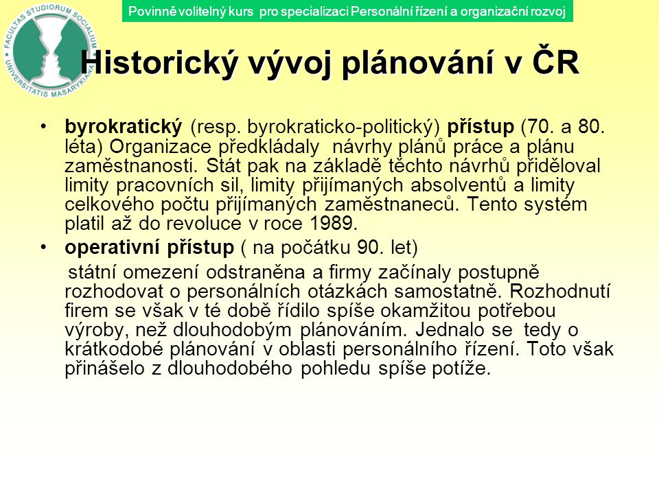 Historický vývoj plánování v ČR