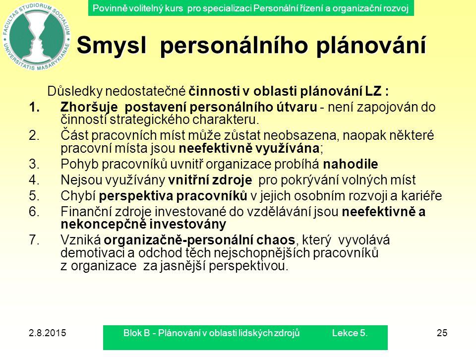 Smysl personálního plánování