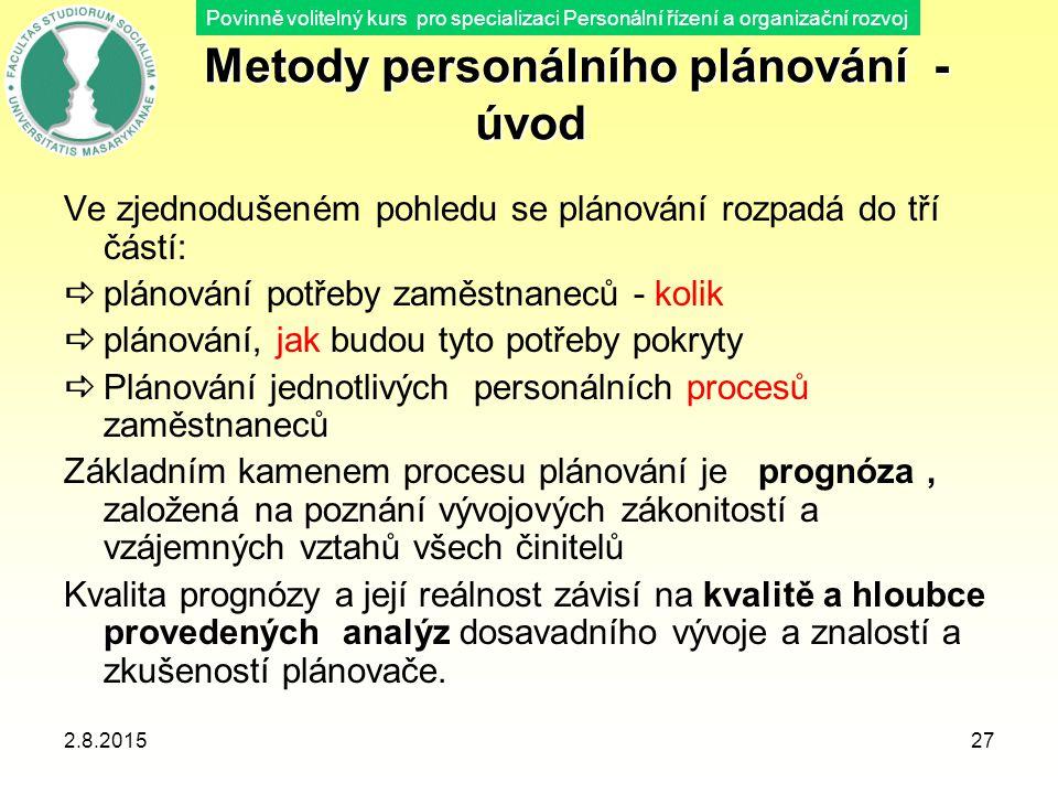 Metody personálního plánování - úvod
