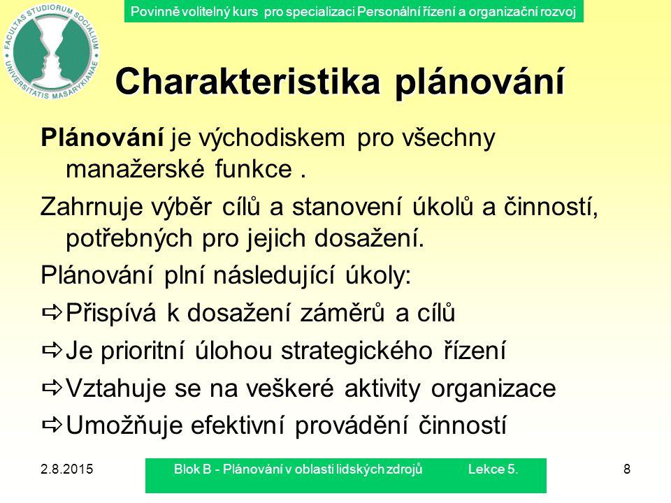 Charakteristika plánování
