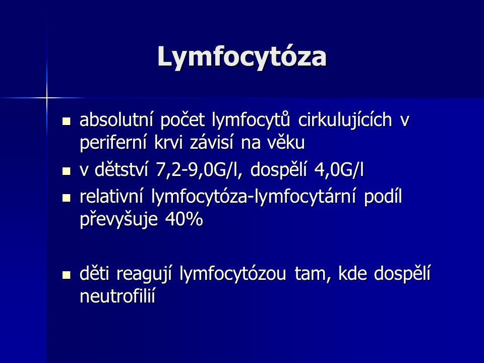 Lymfocytóza absolutní počet lymfocytů cirkulujících v periferní krvi závisí na věku. v dětství 7,2-9,0G/l, dospělí 4,0G/l.