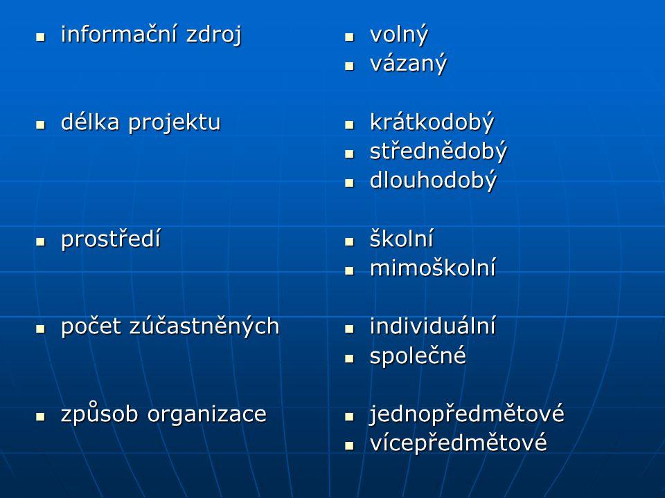 informační zdroj délka projektu. prostředí. počet zúčastněných. způsob organizace. volný. vázaný.