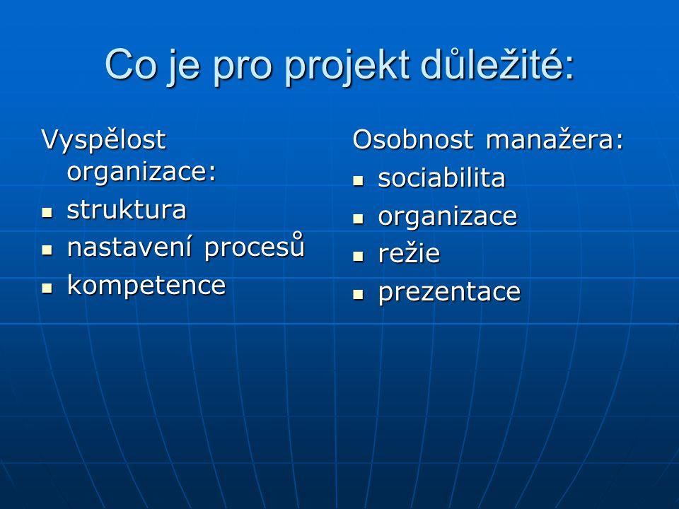Co je pro projekt důležité: