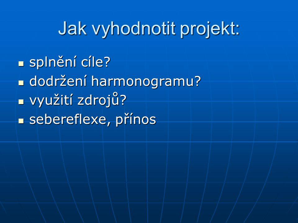 Jak vyhodnotit projekt: